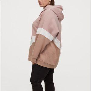New Women Pink White H&M+ Oversized Hoodie M